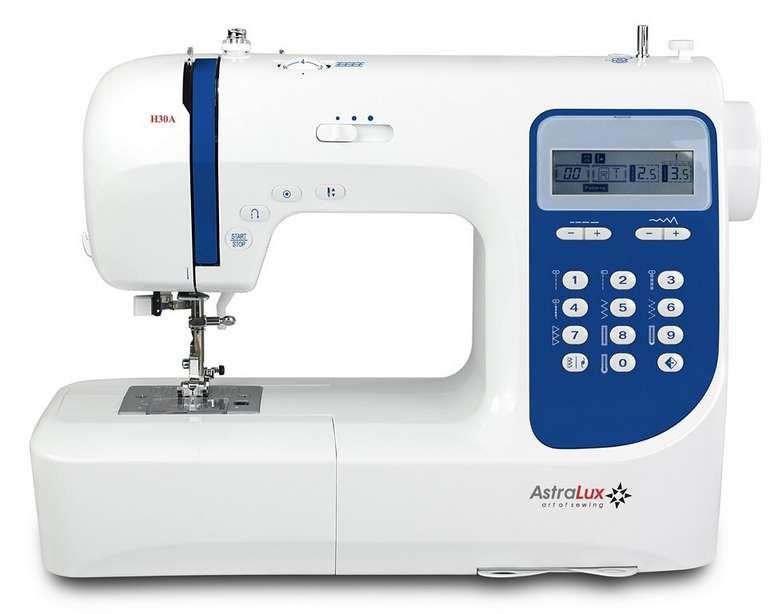 Astralux H30AAstralux<br>110 строчек, 7 видов петель. Плавная регулировка скорости, позиционирование иглы, беспедальное шитье.<br>