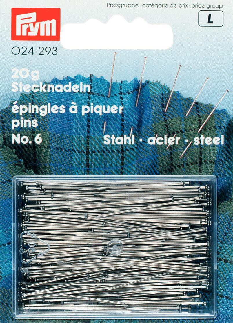 024293 Prym Булавки портновские 30*0,6мм, 20 г, закаленная сталь (банка на блистере) фото