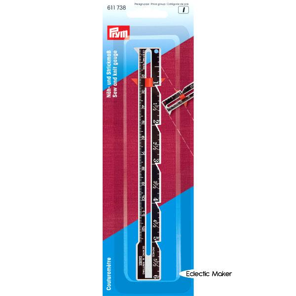 611738 Prym Линейка для шитья и вязания, см/дюймы, в блистереДля измерения и маркировки<br>611738 Prym Линейка для шитья и вязания, см/дюймы, в блистере<br>