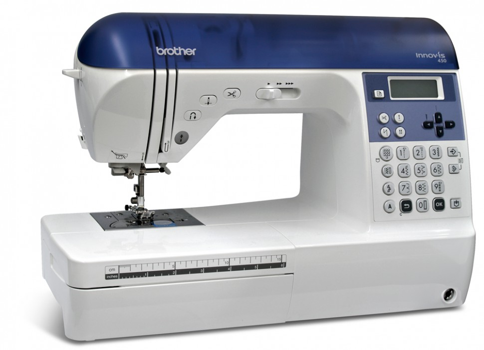 Brother NV 450Brother<br>Электронная швейная машина Brother NV 450. 129 строчек, 10 видов петель. 3 вида алфавита. Плавная регулировка скорости, беспедальное шитье.<br>